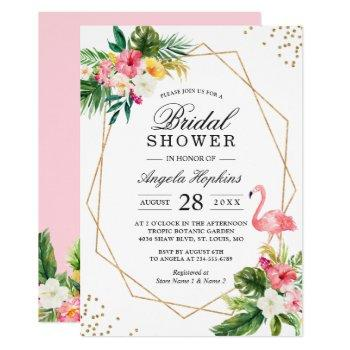 tropical floral gold frame flamingo bridal shower invitation