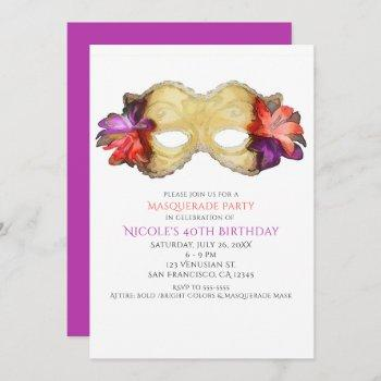 tropical floral masquerade mask party invitations