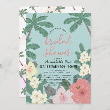 tropical floral & palm tree drive-by bridal shower invitation