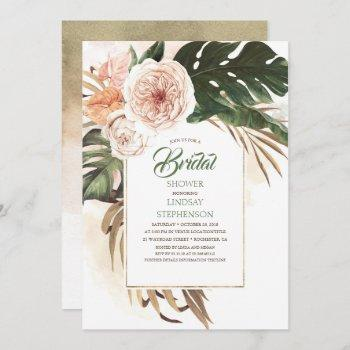 tropical flowers and dried palm leaf bridal shower invitation
