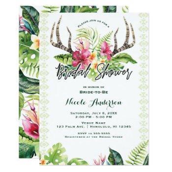 tropical flowers boho rustic antler bridal shower invitation
