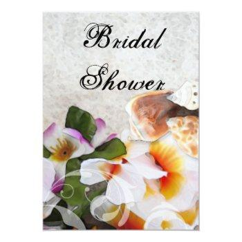 tropical flowers bridal shower invitations