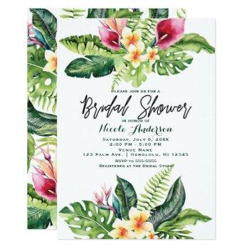 tropical flowers & leaves floral bridal shower invitation