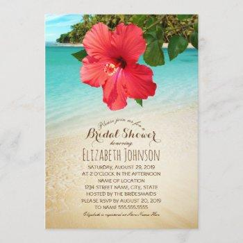 tropical hibiscus beach themed bridal shower invitation