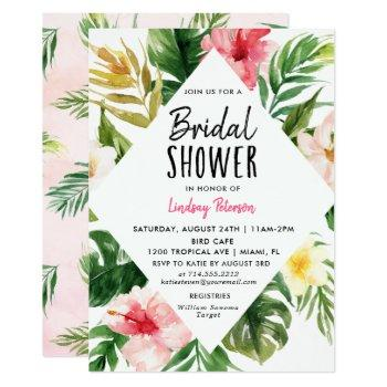 tropical leaves bridal shower invitation card