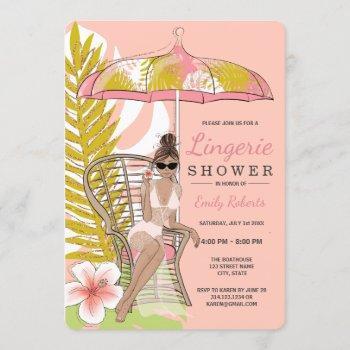tropical lingerie shower brunette bride invitation