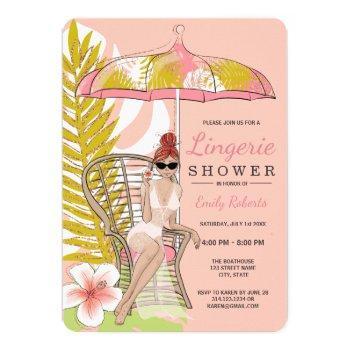 tropical lingerie shower redhead bride invitation