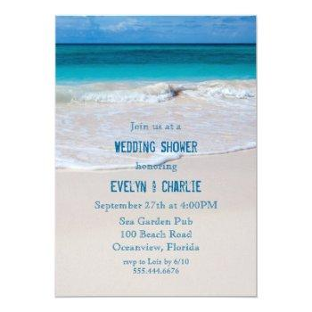 tropical ocean water beach wedding shower invite