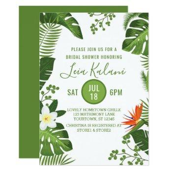 tropical palm leaves bridal shower invitation