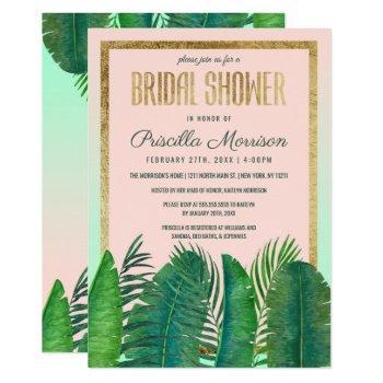 tropical palm tree banana leaf gold bridal shower invitation