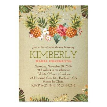 tropical pineapple beach lights bridal shower invitation