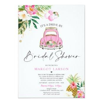 tropical pineapple drive by bridal shower invitation