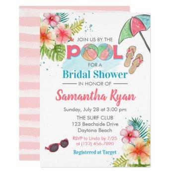 tropical poolside summer bridal shower invitation