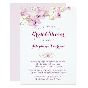 tropical purple orchid bridal shower invitation