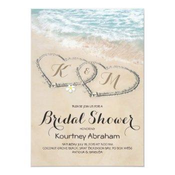 Tropical Vintage Beach Heart Bridal Shower Invitation Front View