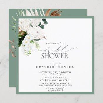 tropical white & green watercolor bridal shower invitation