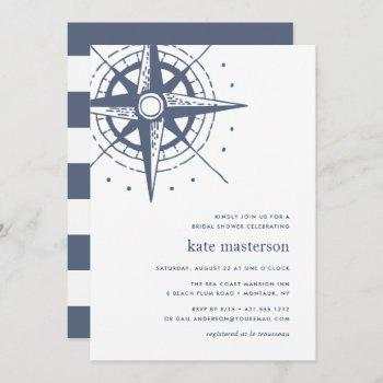 true north   nautical bridal shower invitation