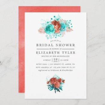 turquoise and coral tropical floral bridal shower invitation