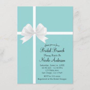 turquoise blue big white bow bridal shower invitation