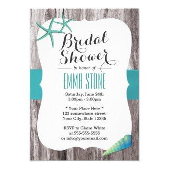 turquoise blue seashells beach bridal shower invitation