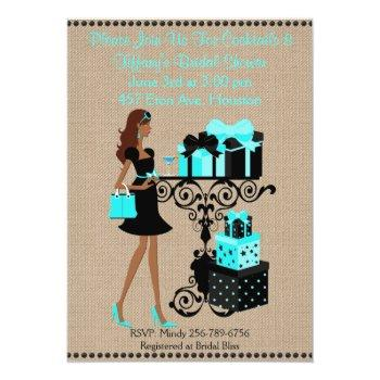 turquoise cocktail keep calm bridal shower invite