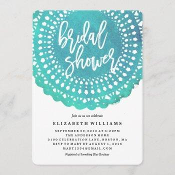 turquoise doily bridal shower invitation