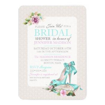 turquoise & pink bridal shower shoe & rose invitation