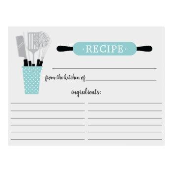 turquoise rolling pin kitchen tools recipe card