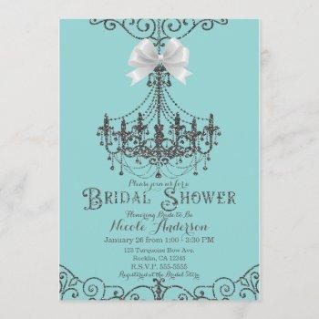 turquoise & silver white bow bridal shower invitation
