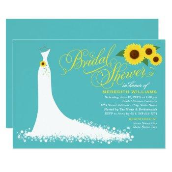 turquoise sunflower wedding gown bridal shower invitation