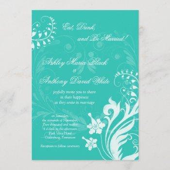 turquoise white vintage floral wedding invitation