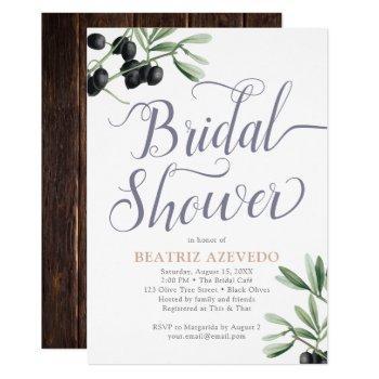 tuscan bridal shower italian olive branch rustic invitation