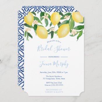 tuscany lemons antique pattern blue bridal shower invitation