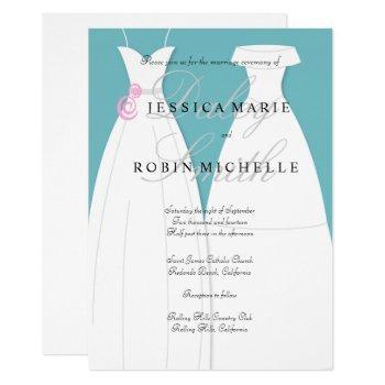 two brides wedding dress lesbian wedding invitation