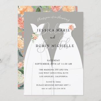 two brides wedding dress lesbians couples shower invitation