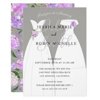 two brides wedding dress lesbians shower purple invitation