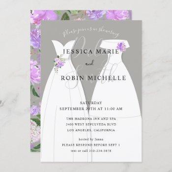 two brides wedding dress lesbians shower purple invitation
