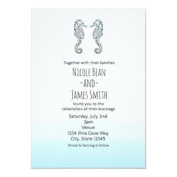 two seahorses elegant beach wedding invitation