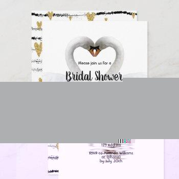 two swans in love white bridal shower invitation