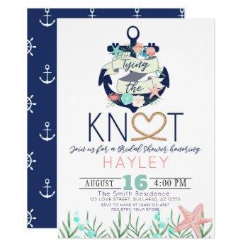 tying the knot bridal shower invitation nautical