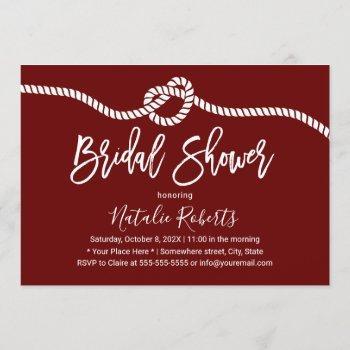 tying the knot elegant typography bridal shower invitation