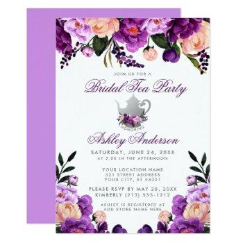ultra violet purple bridal shower tea party invite
