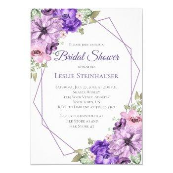 ultra violet purple floral geometric bridal shower invitation