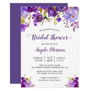 ultra violet purple floral romantic bridal shower invitation