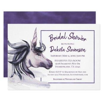 unicorn bridal shower   magical purple watercolor invitation