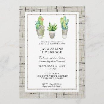 urban spanish hacienda watercolor cactus succulent invitation