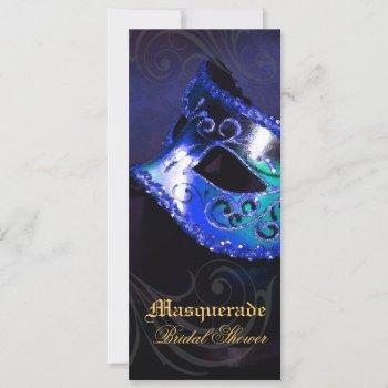 venice blue masquerade bridal shower invitation