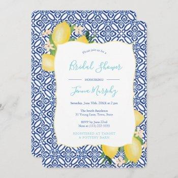 vibrant lemons yellow teal bridal shower invitation