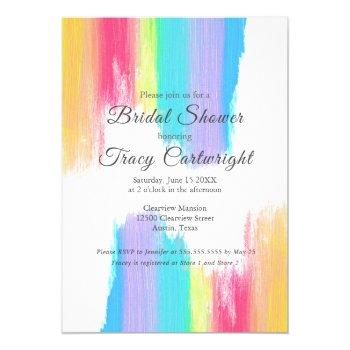 vibrant rainbow watercolor bridal shower invitation