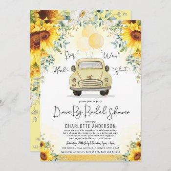 vibrant summer sunflower drive by bridal shower invitation
